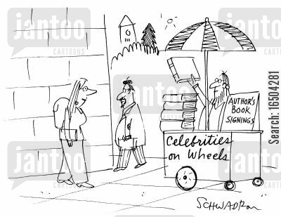signings cartoon humor: Celebrities on wheels - author's book signings.