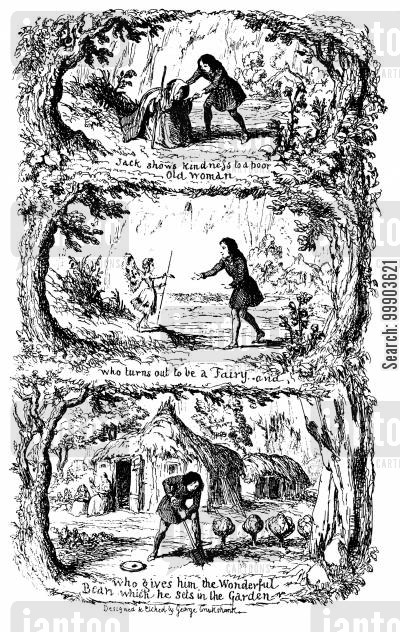 jack and the beanstalk cartoon humor: Fairy Library - Frontispiece to Jack and the Beanstalk