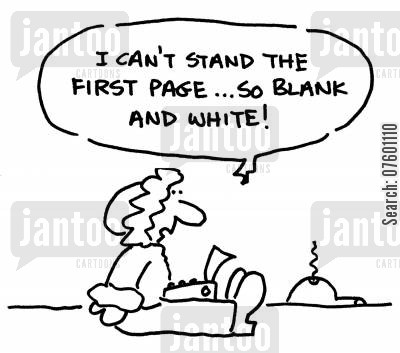 first pages cartoon humor: 'I can't stand the first page...so black and white!'