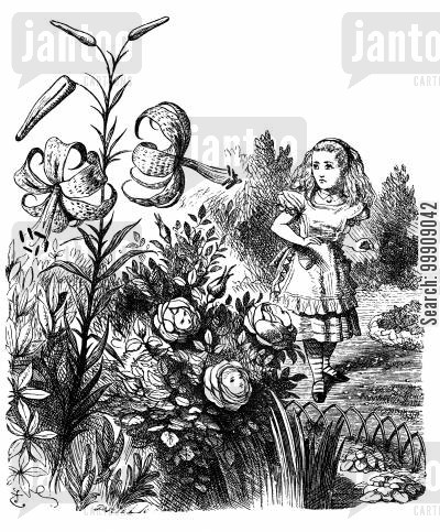 children's classics cartoon humor: Alice Through the Looking Glass - The Garden of Live Flowers.