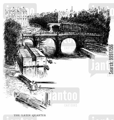bridge cartoon humor: Trilby - The Latin Quater, Paris.