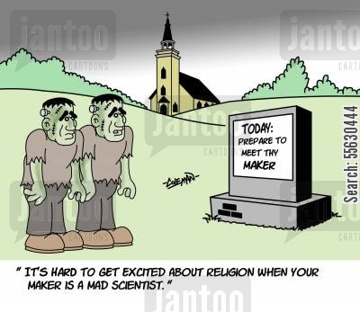 makers cartoon humor: Monsters Contemplating Religion.