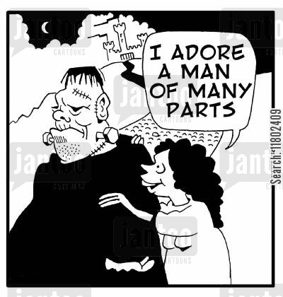 flattery cartoon humor: 'I adore a man of many parts.'