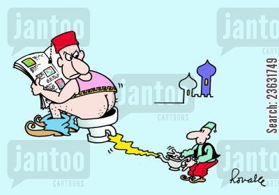 arabian nights cartoon humor: Genie caught on the toilet.
