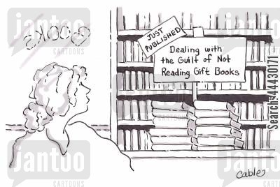 genres cartoon humor: Woman looking at display sign in bookshop that reads 'Just Published. Dealing with the Guilt of Not Reading Gift Books.'