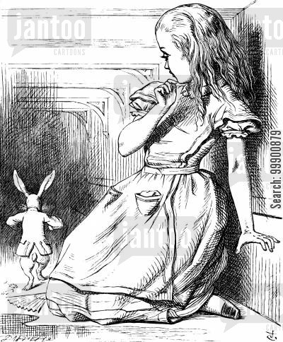 surrealism cartoon humor: Alice in Wonderland - Alice and the White Rabbit