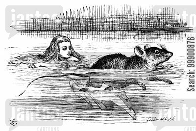 surrealism cartoon humor: Alice in Wonderland - Alice Swims with Mouse