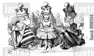 fantasy cartoon humor: Through the Looking Glass - Queen Alice in Council