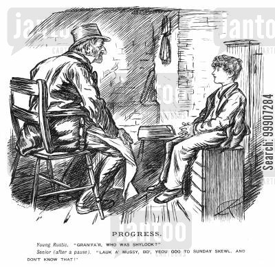 sunday school cartoon humor: A grandfather and his son discussing the character 'Shylock'