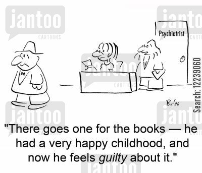 counsell cartoon humor: 'There goes one for the book -- he had a very happy childhood, and now he feels guilty about it.'