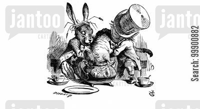 dormouse cartoon humor: Alice in Wonderland-Hare and Hatter putting Dormouse in Teapot