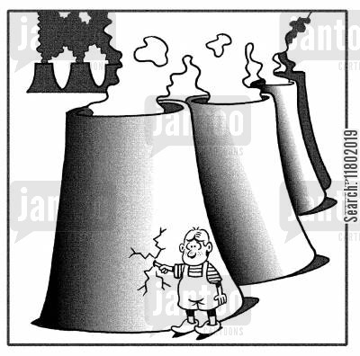 dykes cartoon humor: Boy with finger in the hole of a power station.