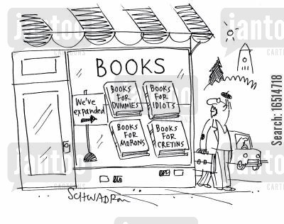 moron cartoon humor: Books for fools.