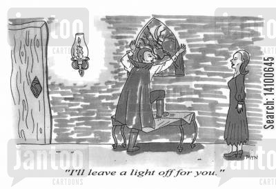 illuminate cartoon humor: Vampire - I'll leave a light off for you.