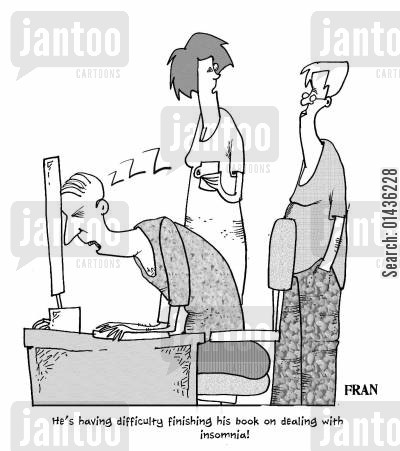 sleeping problems cartoon humor: 'He's having difficulty finishing his book on dealing with insomnia.'