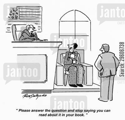 questioned cartoon humor: 'Please answer the question and stop saying you can read about it in your book.'