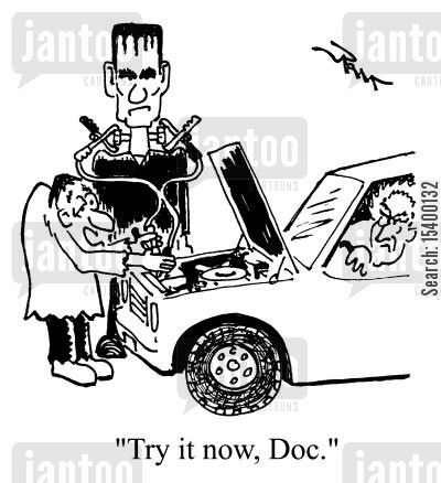 jump leads cartoon humor: Jump-starting Frankenstein's monster