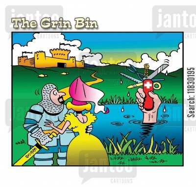 sword of the lake cartoon humor: The Lake