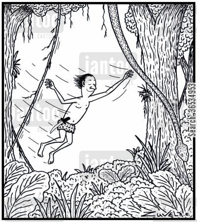 python cartoon humor: Tarzan about to grab a Python by mistake instead of a vine