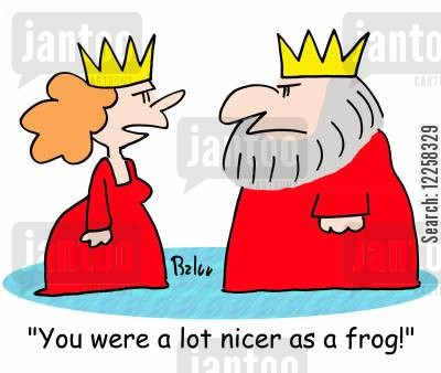 beautiful princesses cartoon humor: 'You were a lot nicer as a frog!'