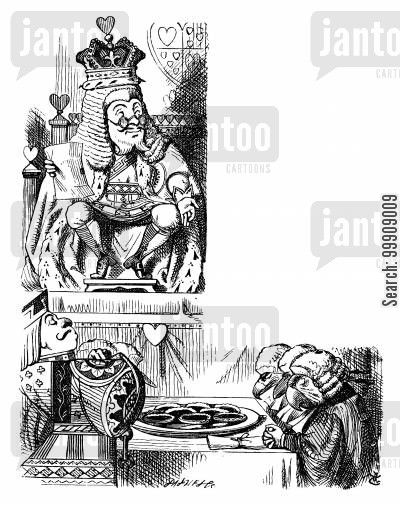 children's literature cartoon humor: Alice in Wonderland: The King and the Knave.