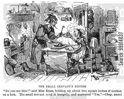dickens cartoon humor: The small servant's dinner