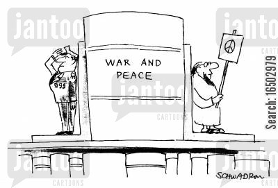 book end cartoon humor: Bookends for 'War and Peace'.