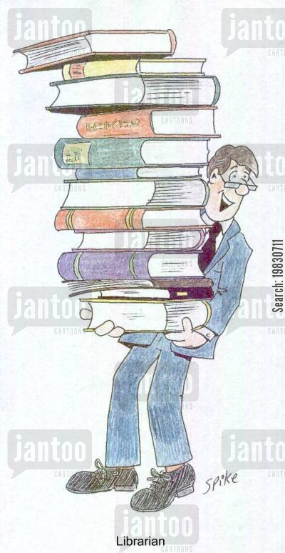 bookworms cartoon humor: Librarian.