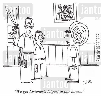 radio station cartoon humor: 'We get Listener's Digest at our house.'