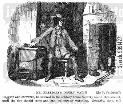 armed cartoon humor: Mr. Haredale's lonely watch