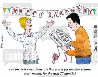 disappointments cartoon humor: 'And the best news, honey, is that you'll get another volume every month, for the next 27 months!'