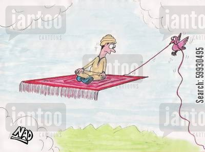 magic carpets cartoon humor: A bird pulls the thread from a magic carpet.