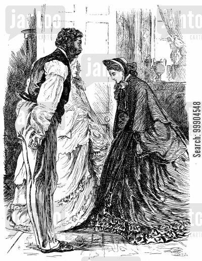 curtsying cartoon humor: Illustration for 'Eleanor's Victory' by Miss Braddon, scene 2.