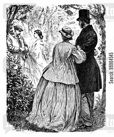 garden scene cartoon humor: Illustration for 'Eleanor's Victory' by Miss Braddon, scene 1.