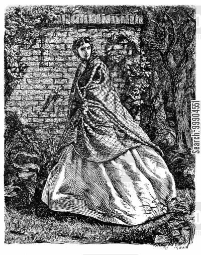 shawled woman cartoon humor: Illustration for 'Eleanor's Victory' by Miss Braddon, scene 3.