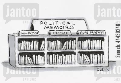 book genres cartoon humor: Display of political memoirs books categorized as: 'Non-fiction,' 'Fiction,' and 'Pure Fantasy'.
