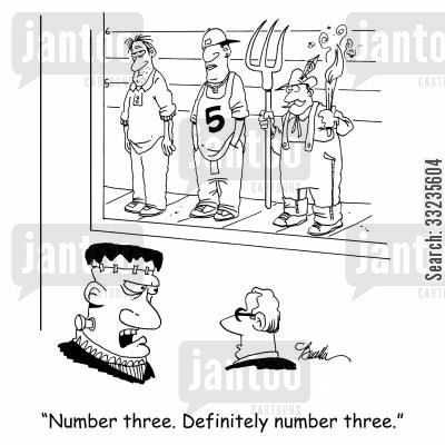 police lineups cartoon humor: 'Number three. Definitely number three.'