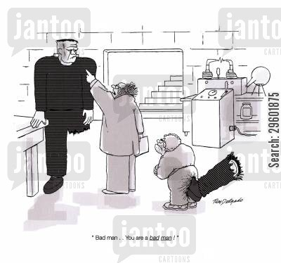 labs cartoon humor: 'Bad man. . . you are a Bad Man!'