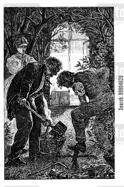 garden cartoon humor: Illustration for 'A Dark Night's Work' - Frontispiece.