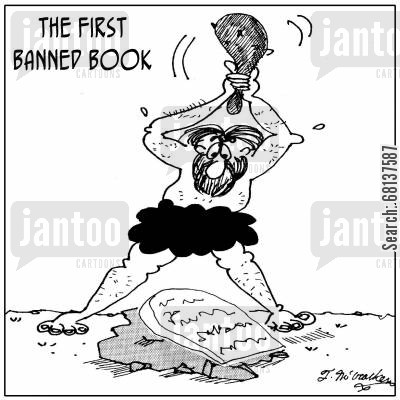 stone carvings cartoon humor: The First Banned Book.