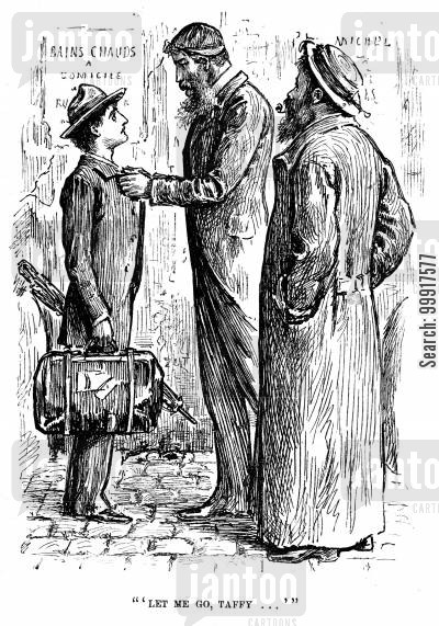 george du maurier cartoon humor: Trilby - 'Let me go, Taffy...'