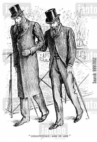 george du maurier cartoon humor: Trilby - 'Sorrowfully, arm in arm'.