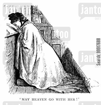 prayer cartoon humor: Trilby - 'May heaven go with her!'
