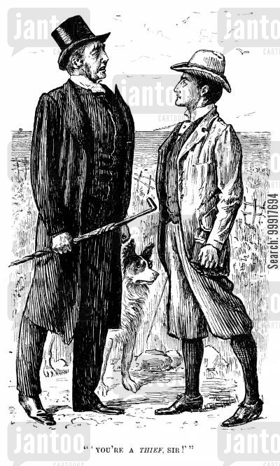 darwin cartoon humor: Trilby - 'You're a thief, sir!'