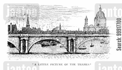 george du maurier cartoon humor: Trilby - 'A little picture of the Thames'.