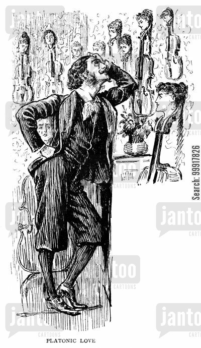 george du maurier cartoon humor: Trilby - 'Platonic love'.