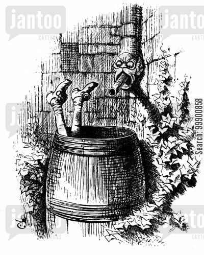 fogle cartoon humor: Ingoldsby Legends - Page Boy Drowned in Barrel