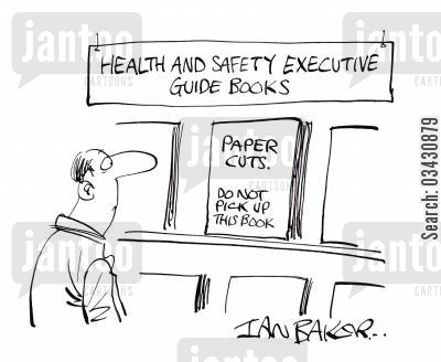 paper cuts cartoon humor: Health And Safety Executive Guide Books.