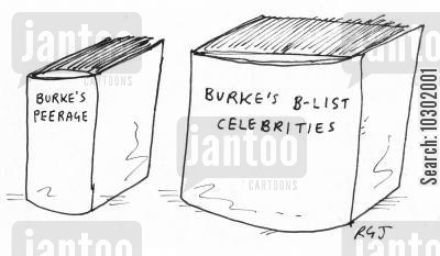 b-list celebrity cartoon humor: 'Burke's B-list celebrities.'