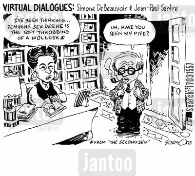 pipe feminist writing cartoon humor: Virtural Dialogues: Simone DeBeauvoir & Jean-Paul Sartre.